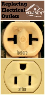 Before and After electrical outlet replacement