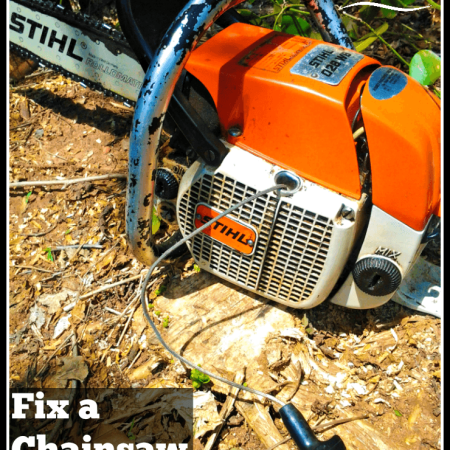 Chainsaw sitting on stump with loose pullstring | rehabitathome.com