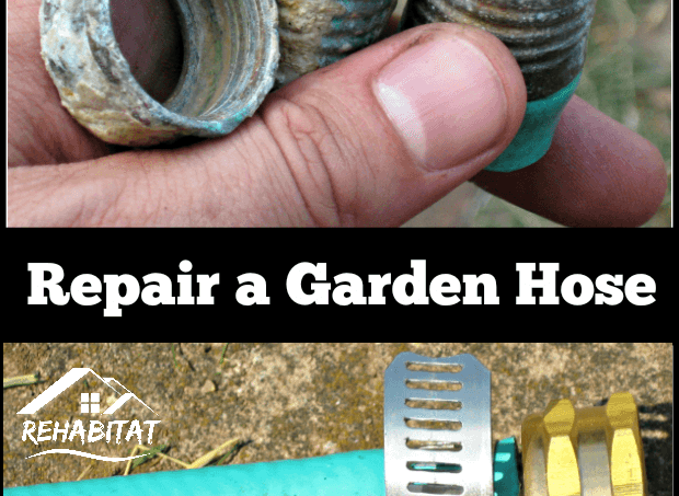 Repair a Garden Hose; rusted hose ends above repaired garden hose | rehabitathome.com
