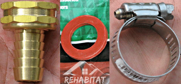 Replacement Parts: Hose Barb/Coupler, Rubber Hose Washer, Hose Clamp | rehabitathome.com