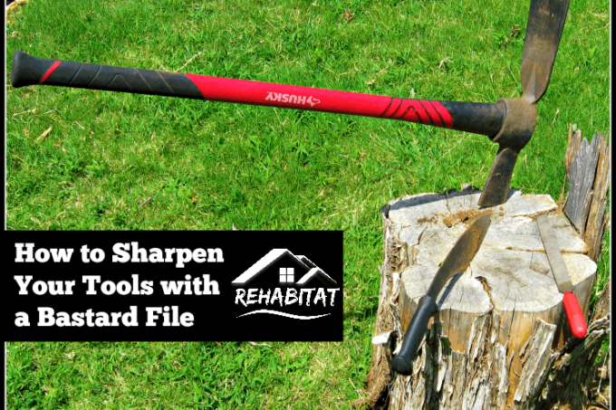 Sharpen your yard tools with a bastard file w/ cutter mattock, kukri on tree stump | rehabitathome.com