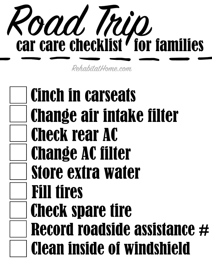 Family Vacation car care checklist