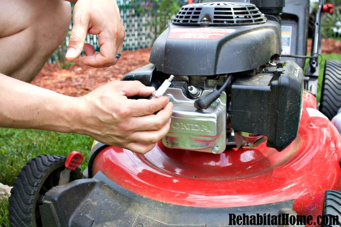 Swap out spark plus in your lawn mower
