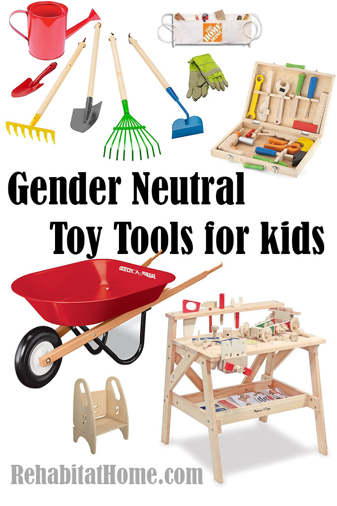 Gender Neutral toy tool sets for kids to work with dad indoor and in the garden
