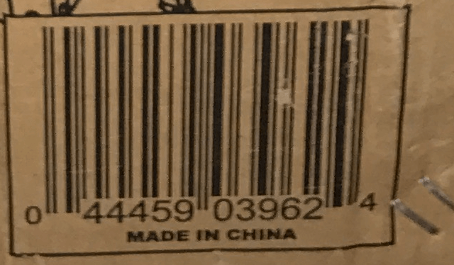 Black Made in China stamp on brown cardboard box packaging of Wen Tools and many other power tools sold by American companies. This box came from a bandsaw, but this stamp also appears on many spindle sanders, drill presses, scroll saws and other woodworking tools.