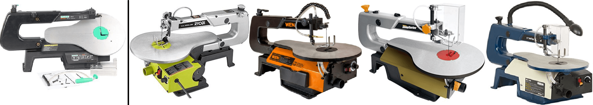 Review of Wen Tools Scroll Saw with visual comparison of Chinese-made Jinhua scroll saw machine to woodworking power tools sold by American companies Ryobi, Wen, Rockwell and Rikon.
