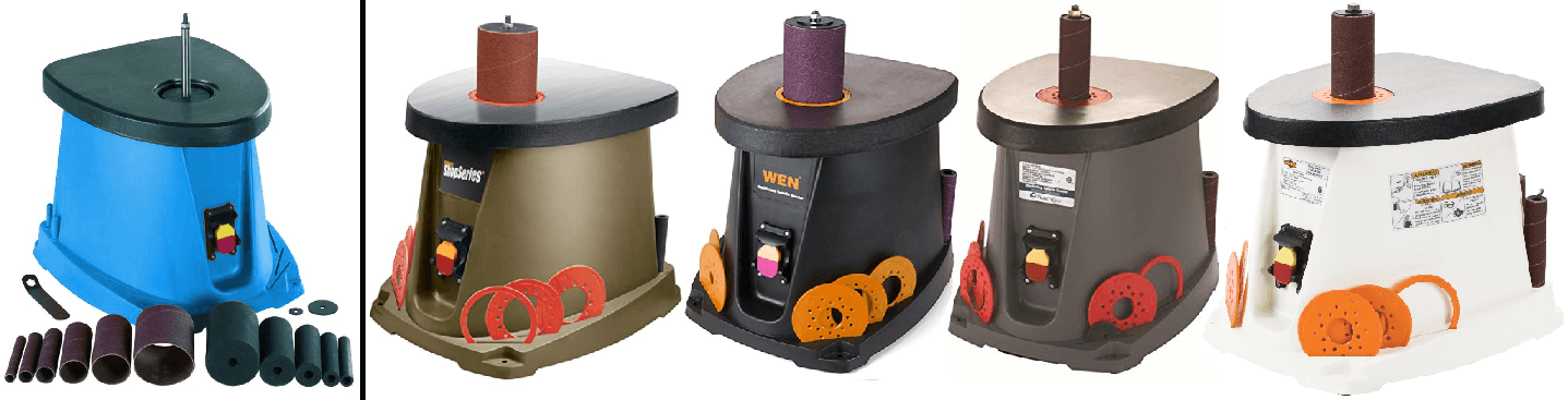 Review of Wen Tools Spindle Sander with visual comparison of Chinese-made Kingxxel oscillating spindle sander to woodworking power tools sold by American companies Wen, Rockwell, WoodRiver and Shop Fox.