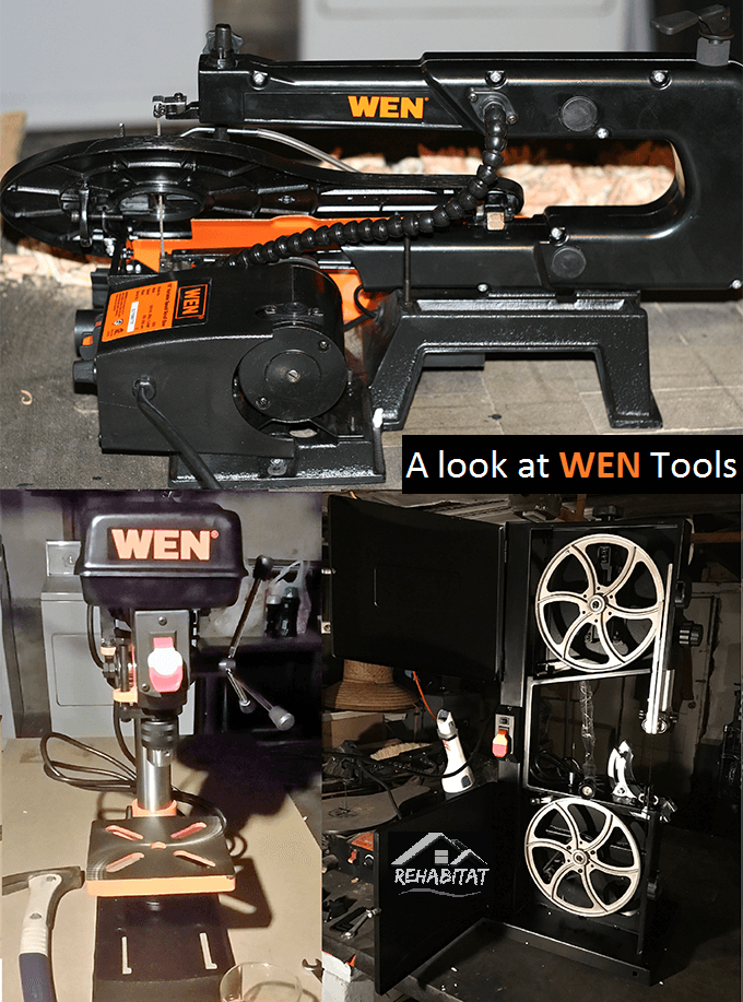 Entry Level power tools for the DIY'er, a comparison and review of a scroll saw, bandsaw and drill press from Wen Tools. These tools are black metal with orange labels and are built with steel and cast iron. Come visit with us and share your experiences!