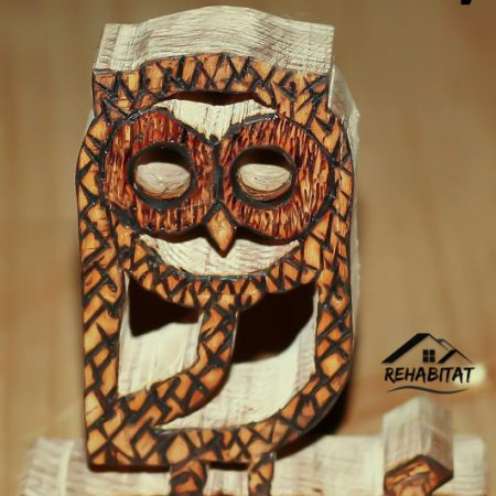 Create your own DIY wood owl toy in 6 easy steps and with minimal tools and no experience. Owl toy is cut from wood and pyrography applied to create a beak, eyes, feathers, and talons. Visit us for more ideas at RehabitatHome.com!